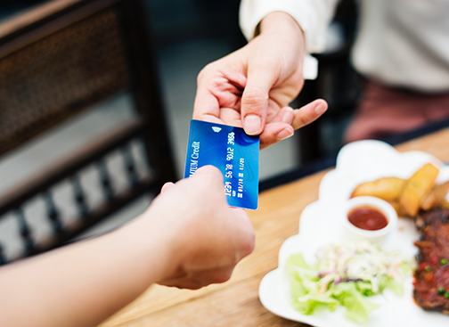 paying for lunch with credit card