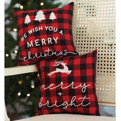 Merry Christmas Buffalo Check Pillow