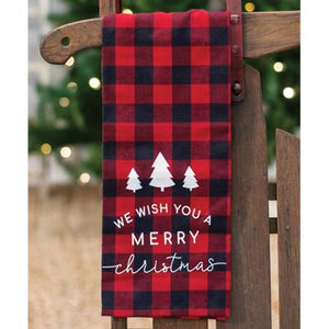 Red Buffalo Check Merry Christmas Towel