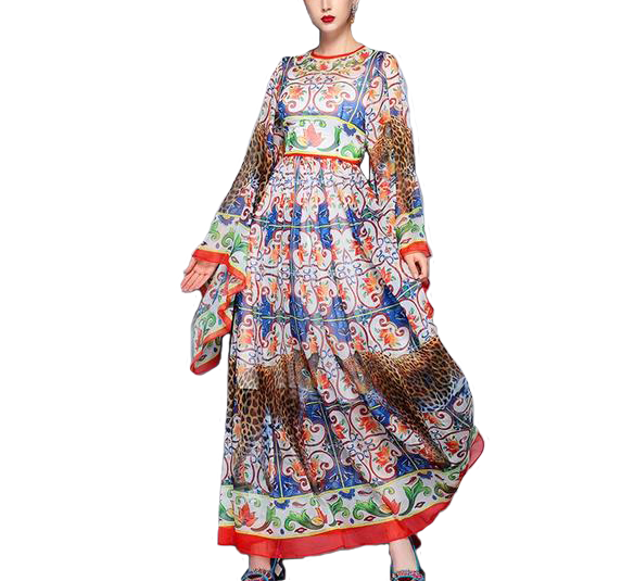 Vintage Print Maxi Full Length Flare Sleeved O-Neck Line Long Maxi Dress