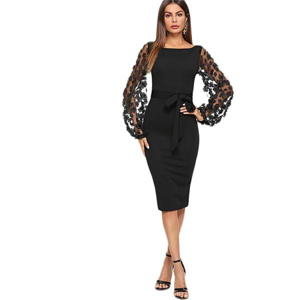 Black Mesh Floral Long Sleeve OverThe Knee Stretchy Dress with Waist Bow Tie Detail