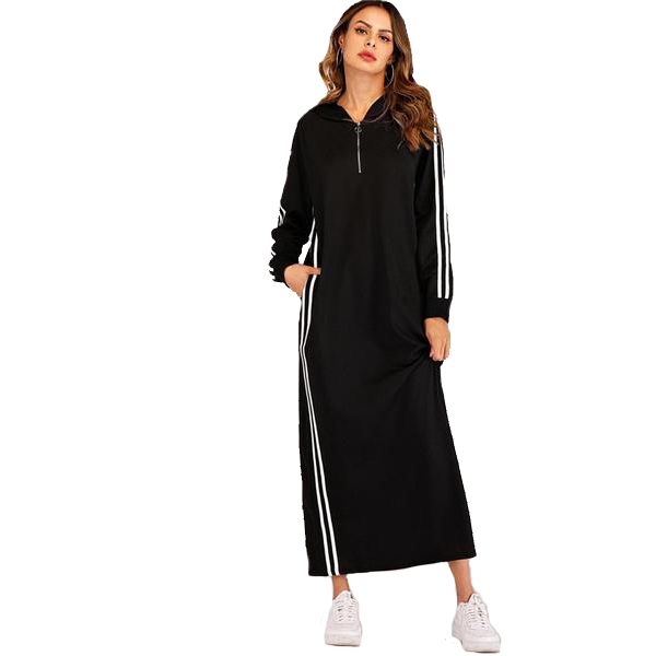 Long Sleeve Casual Black Ankle-Length Dress with Hood with Side Black & White Stripe