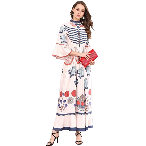 Long Bohemian Poppy Flower Print Half Sleeved Ankle Length Dress