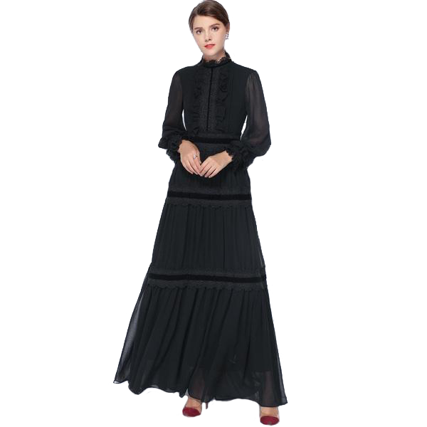 Chiffon Evening Long Lantern Sleeved High Neck Maxi Dress with Lace Detail