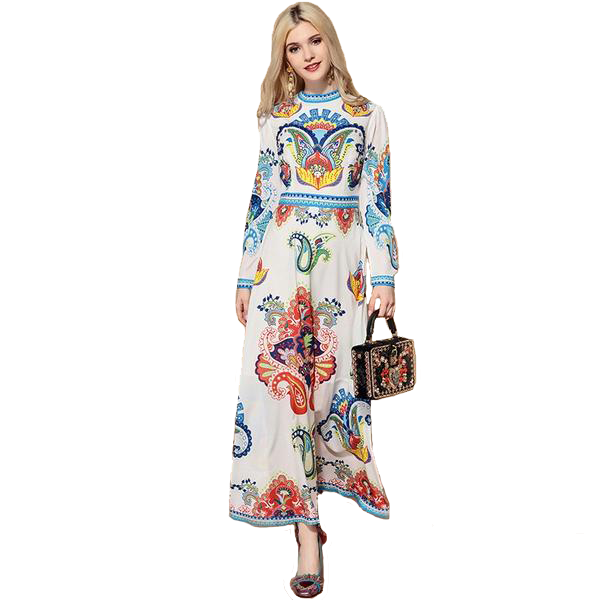 Colourful Print Ankle Length Long Dress