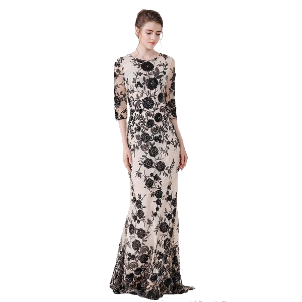 Long Black Rose Floral Pattern Sequence Mesh Floor Length Half Sleeved Dress