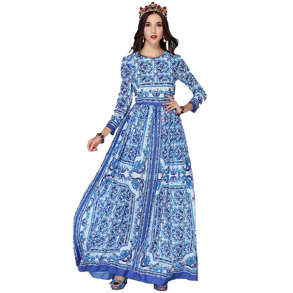 Blue Pattern Floor Length Full Sleeves Summer Dress