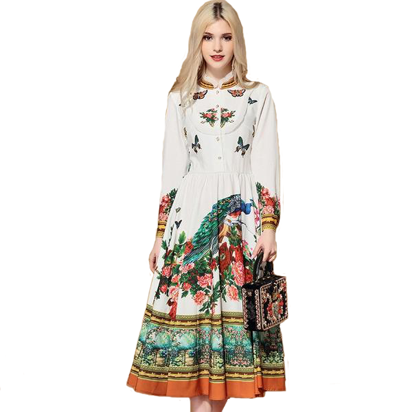 Decorated White Mid Length Full Sleeved Dress with Colourful Beedings