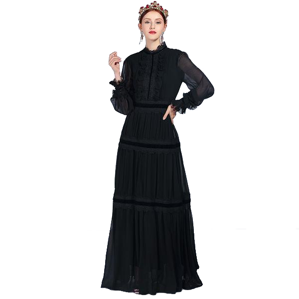 Vintage Styled Black Lace Long Sleeved Floor Length Maxi Dress