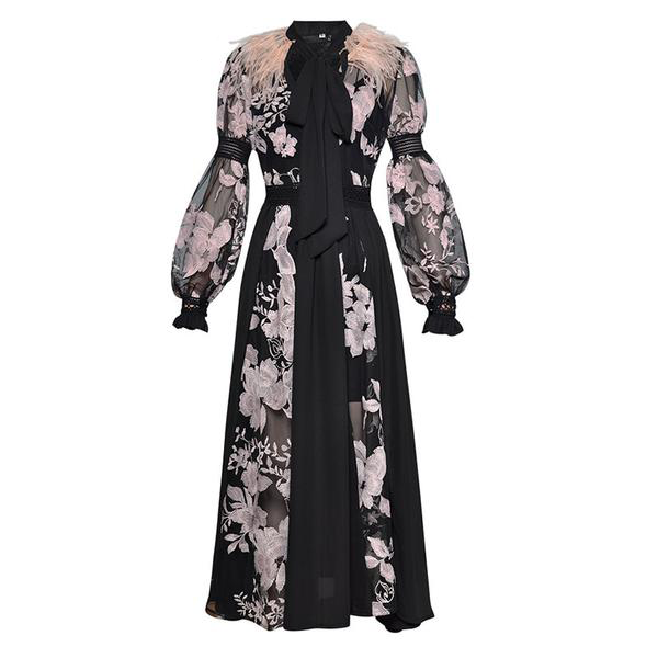 Floral & Feather Ankle-Length Dress with Mesh Lantern Sleeves and Bow Tie Neck Detail