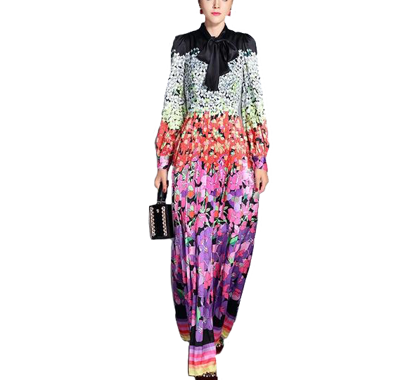 Multi Coloured Long Sleeved Floral Maxi Dress with Elegant Neck Tie