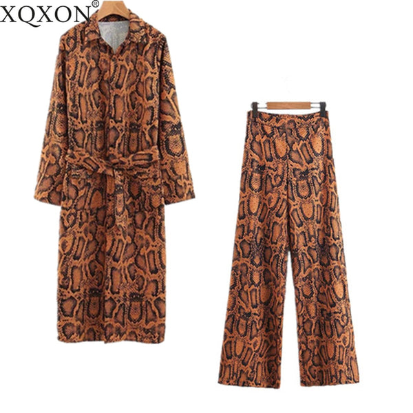 Snake Printed Two Piece Set