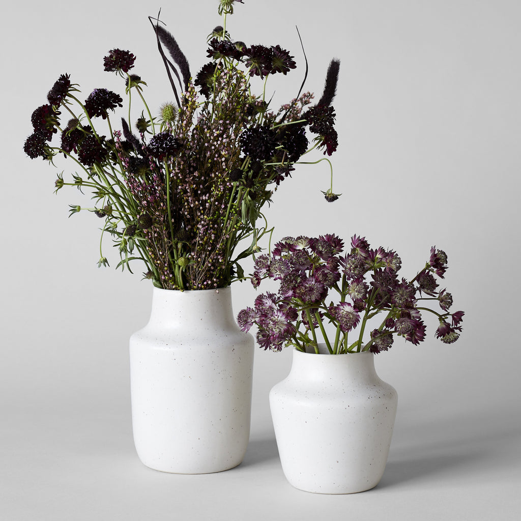 Full Arrangements of Dried Flowers in Two Open Ikebana Vases - Bloomist