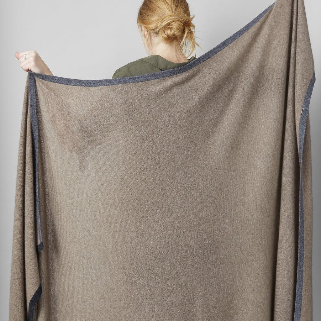 Cashmere Khuree Throw, Mushroom/Charcoal - Bloomist