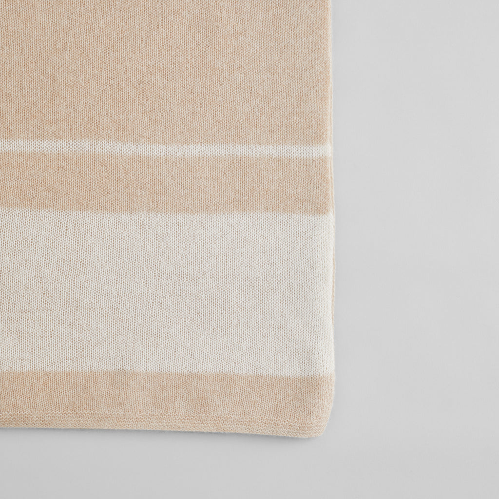 Cashmere Throw, Light Wheat /White - Bloomist
