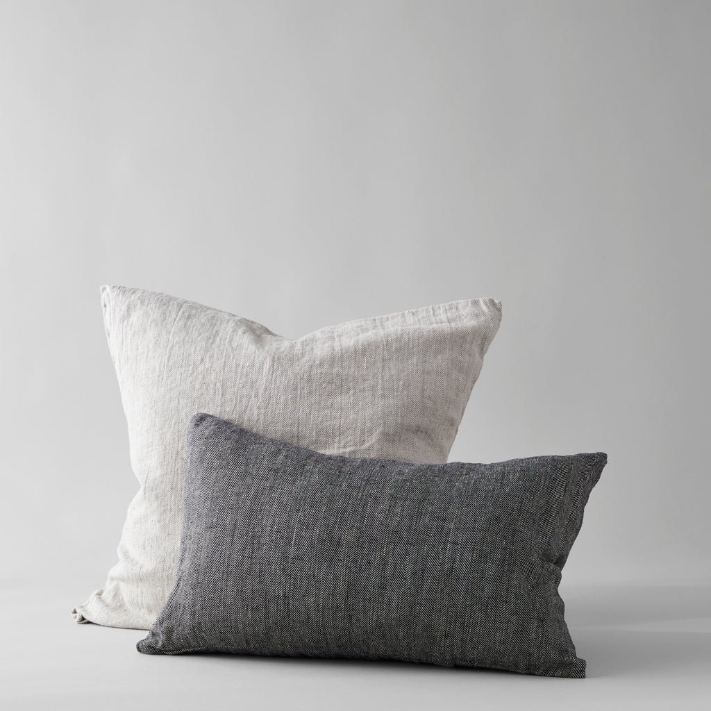 Linen Pillow in Black 24x16 - Bloomist