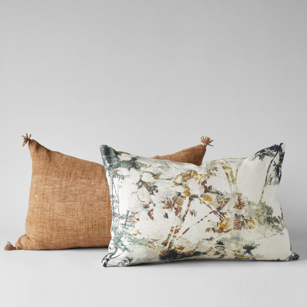 BELGIAN LINEN PILLOW WITH FOREST PRINT 16X24