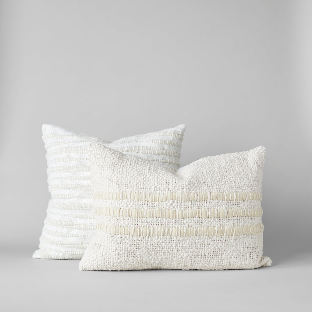 Nieve Handwoven Wool Pillow in Ivory - Bloomist