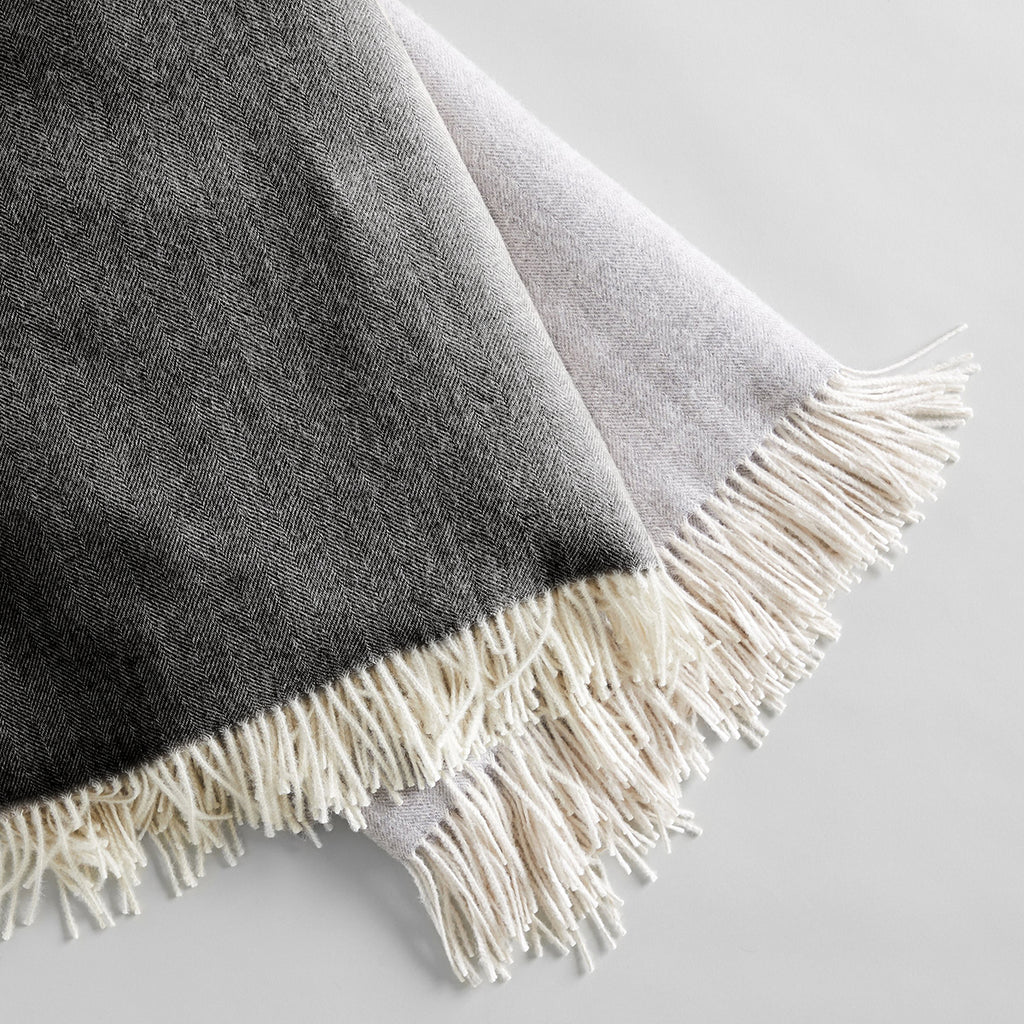 Baby Alpaca Throw, Herringbone Charcoal
