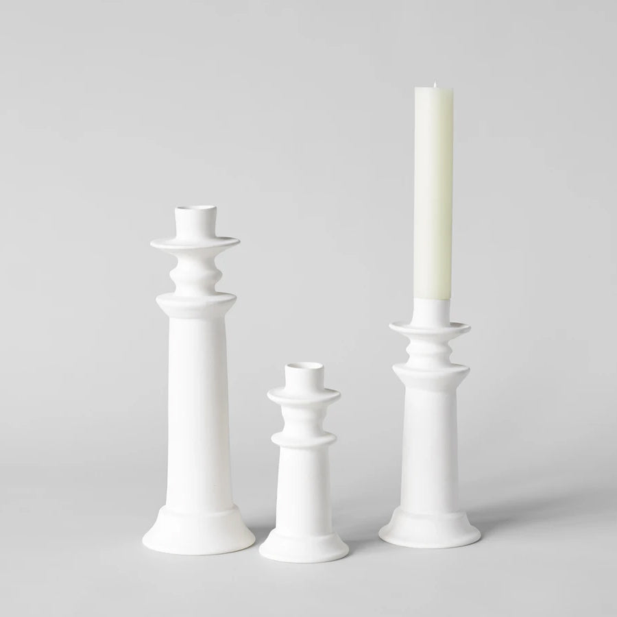 Modern Moroccan Candlestick, White