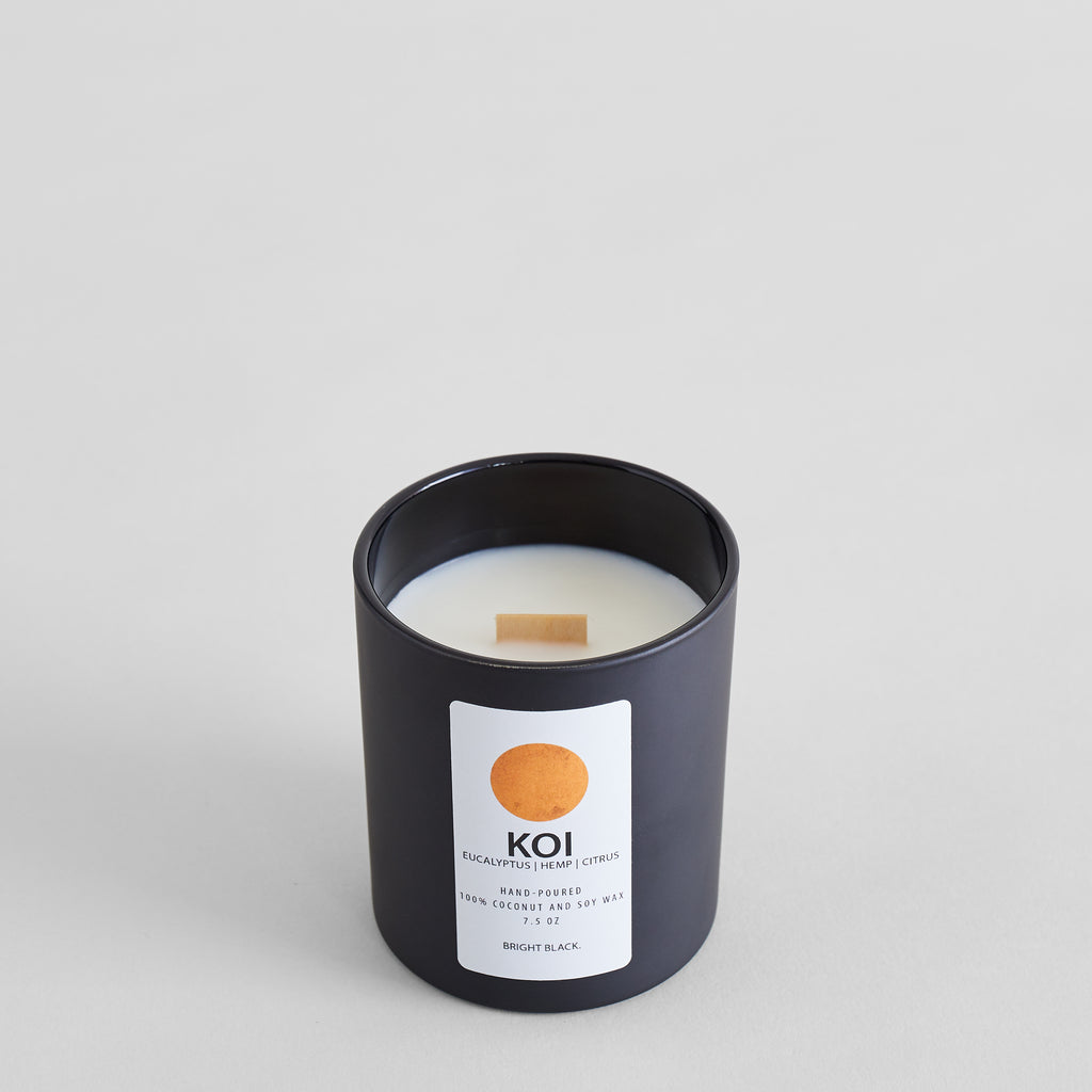 Bright Black Koi Candle