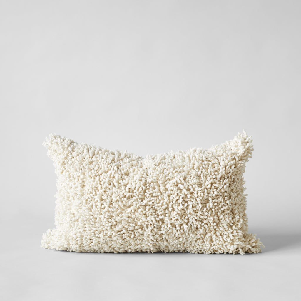 Handmade Wool Shag Pillow in Ivory, 16x24