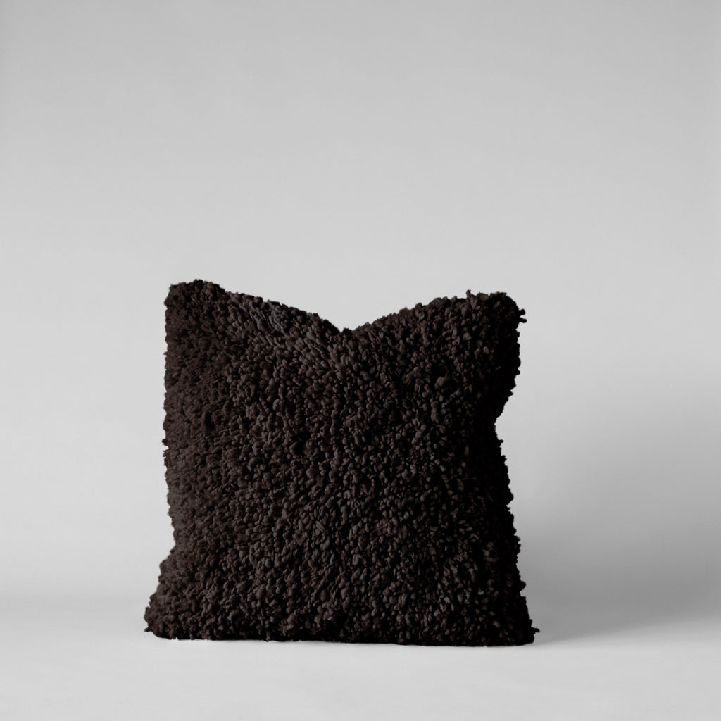 Handmade Wool Shag Pillow in Chocolate, 18x18 - Bloomist