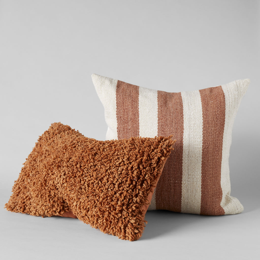 Handmade Wool Shag Pillow in Spice, 16X24 - Bloomist