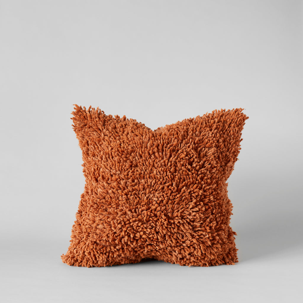Handmade Wool Shag Pillow in Spice, 22X22 - Bloomist