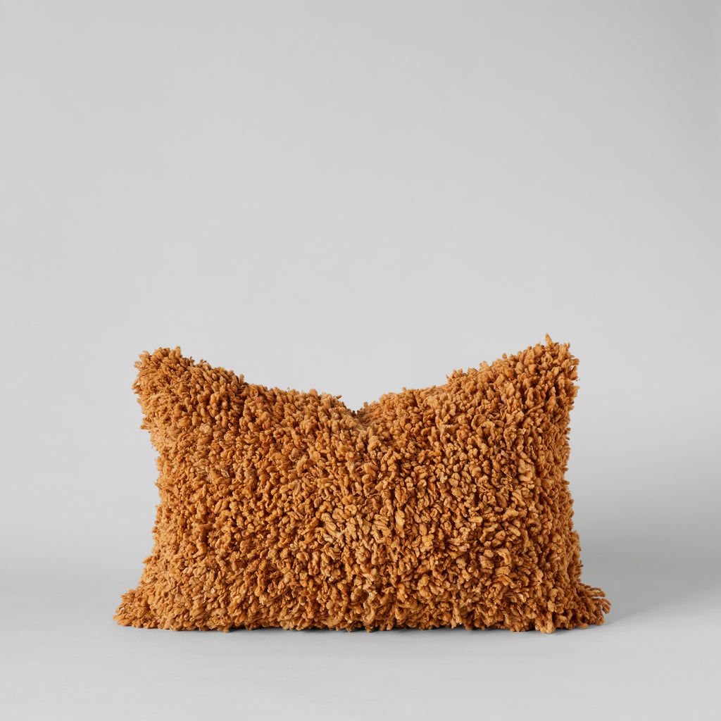 Handmade Wool Shag Pillow in Caramel, 16X24 - Bloomist