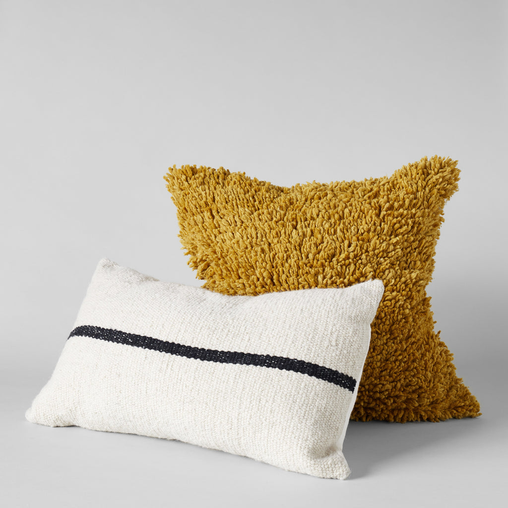 Handmade Wool Shag Pillow in Mustard, 22X22 - Bloomist