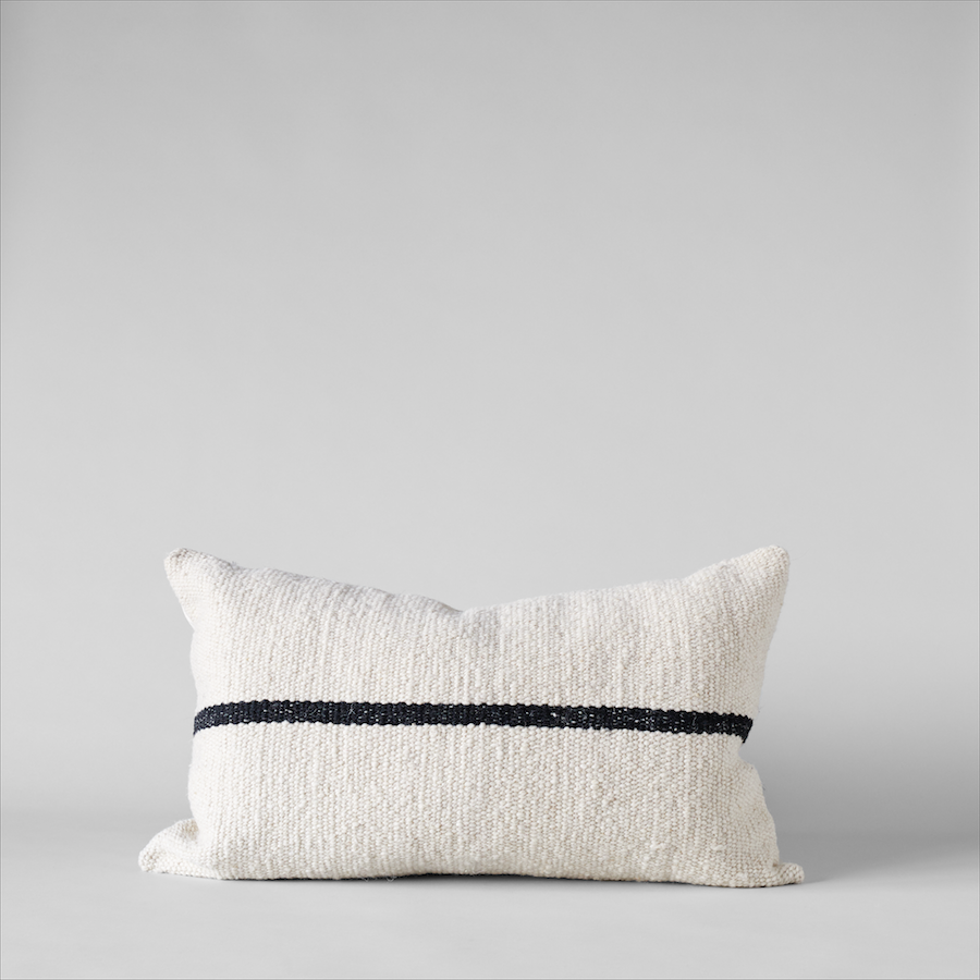 Campo Pillow in Ivory with Black Stripe, 15x25 - Bloomist
