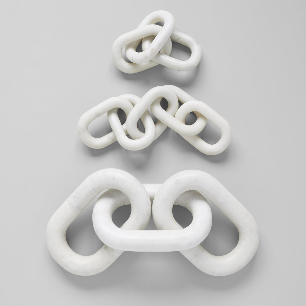 White Marble Chain, Large 3-link