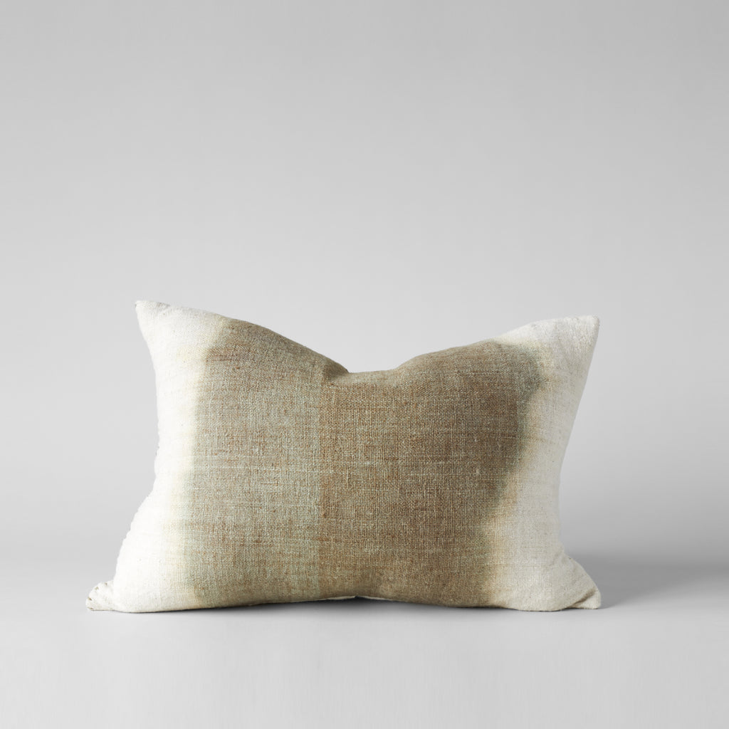 Plant-Dyed Wool Pillow With Green Center, 16X26 - Bloomist