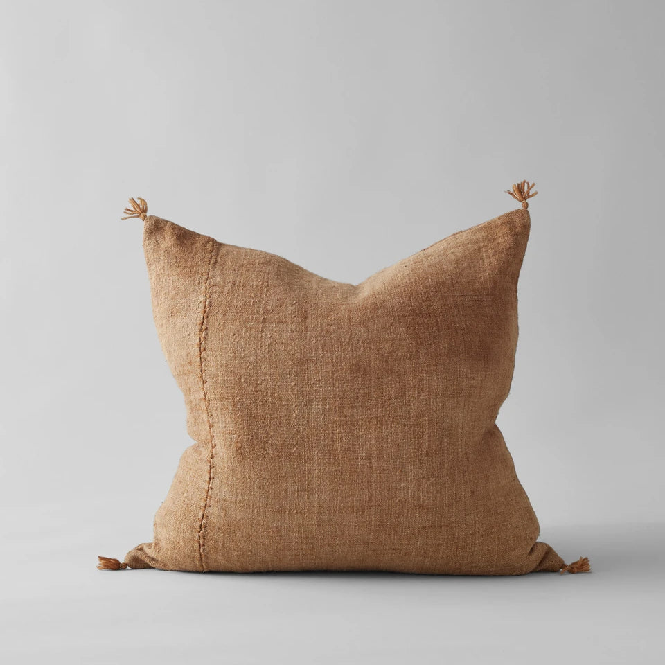 Plant-Dyed Wool Pillow in Caramel, 22x22
