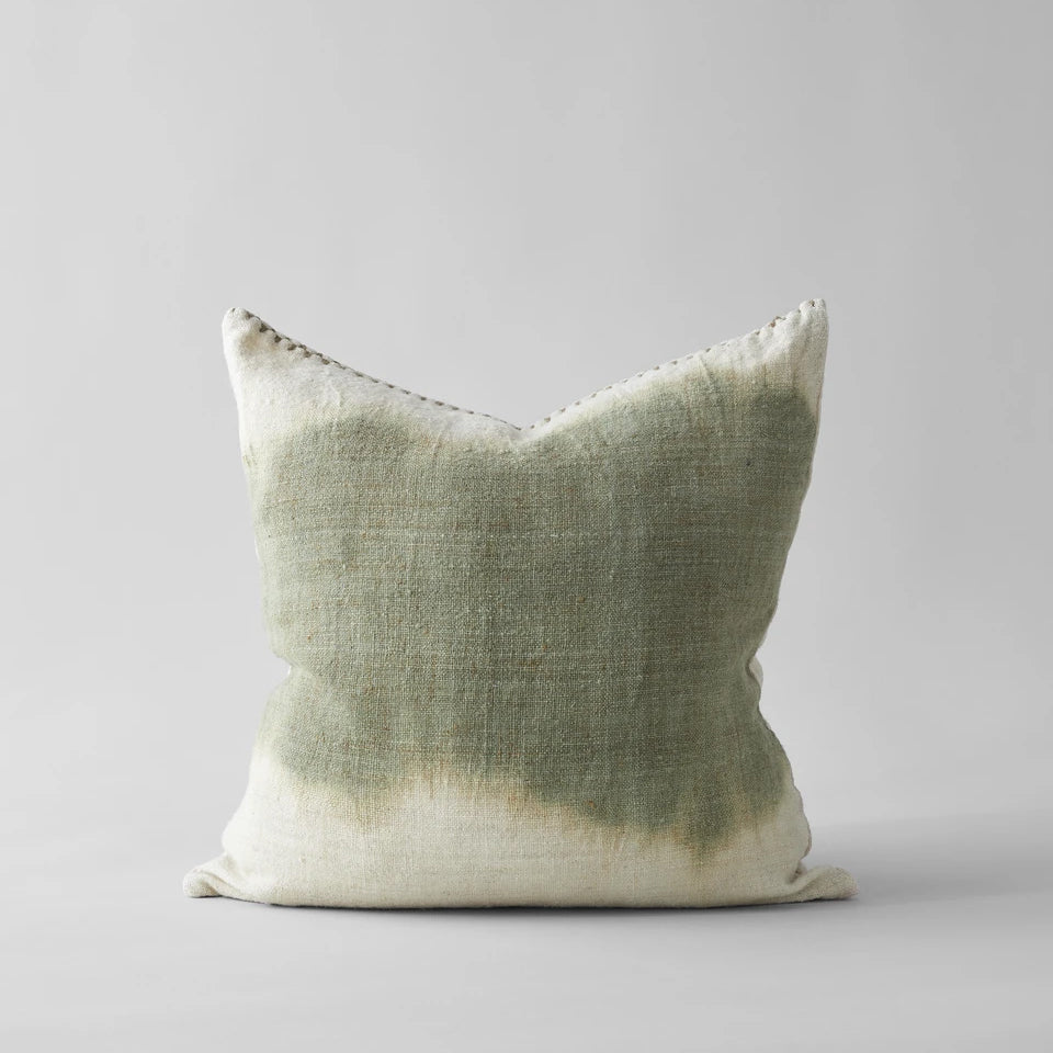 Dip Dyed Wool Pillow with Green Center, 22x22