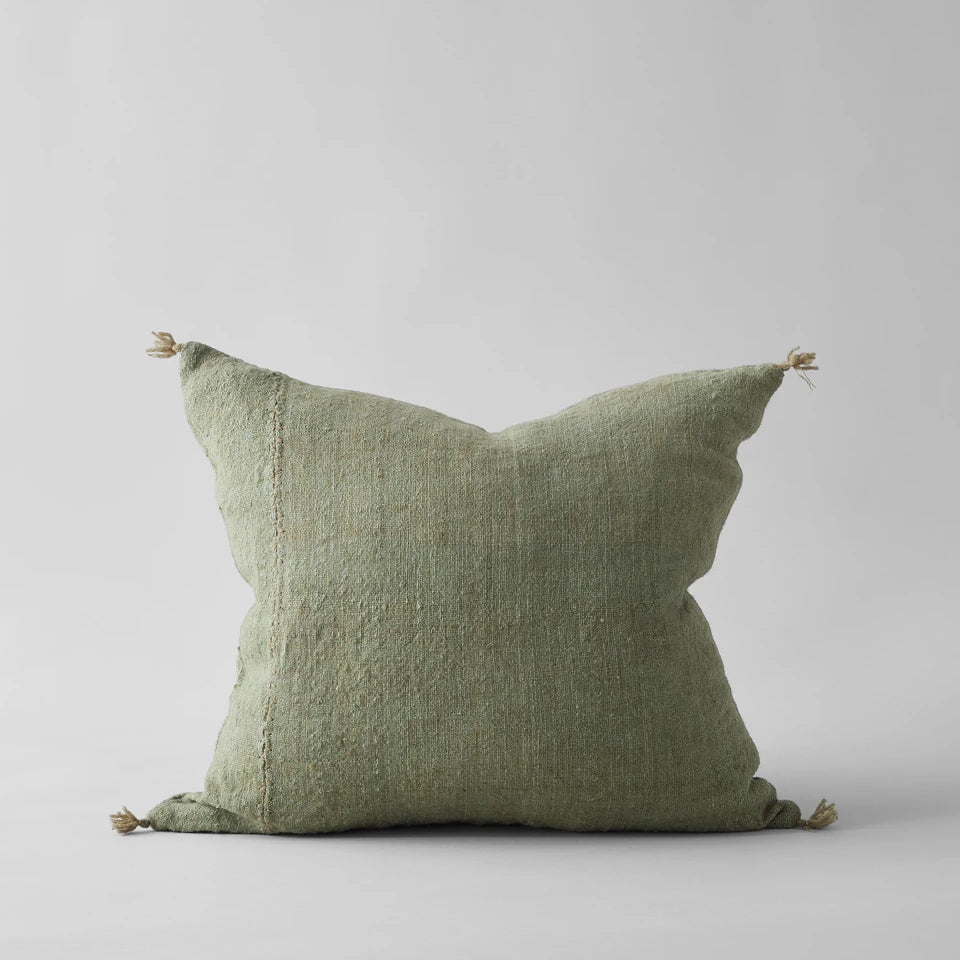 Plant-Dyed Wool Pillow in Green, 22x22