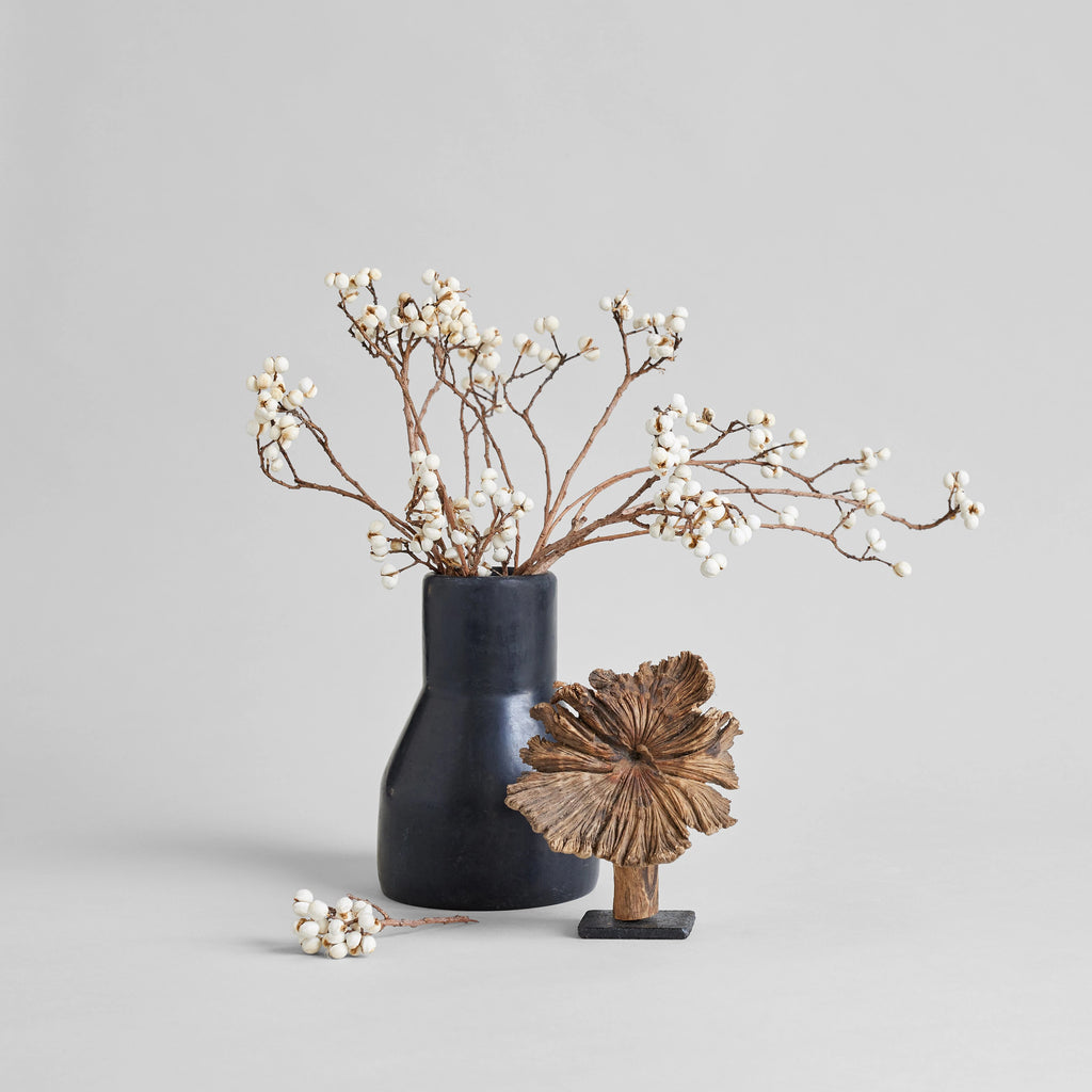 Monolithic Tadelakt Vase + Small Wood Flower