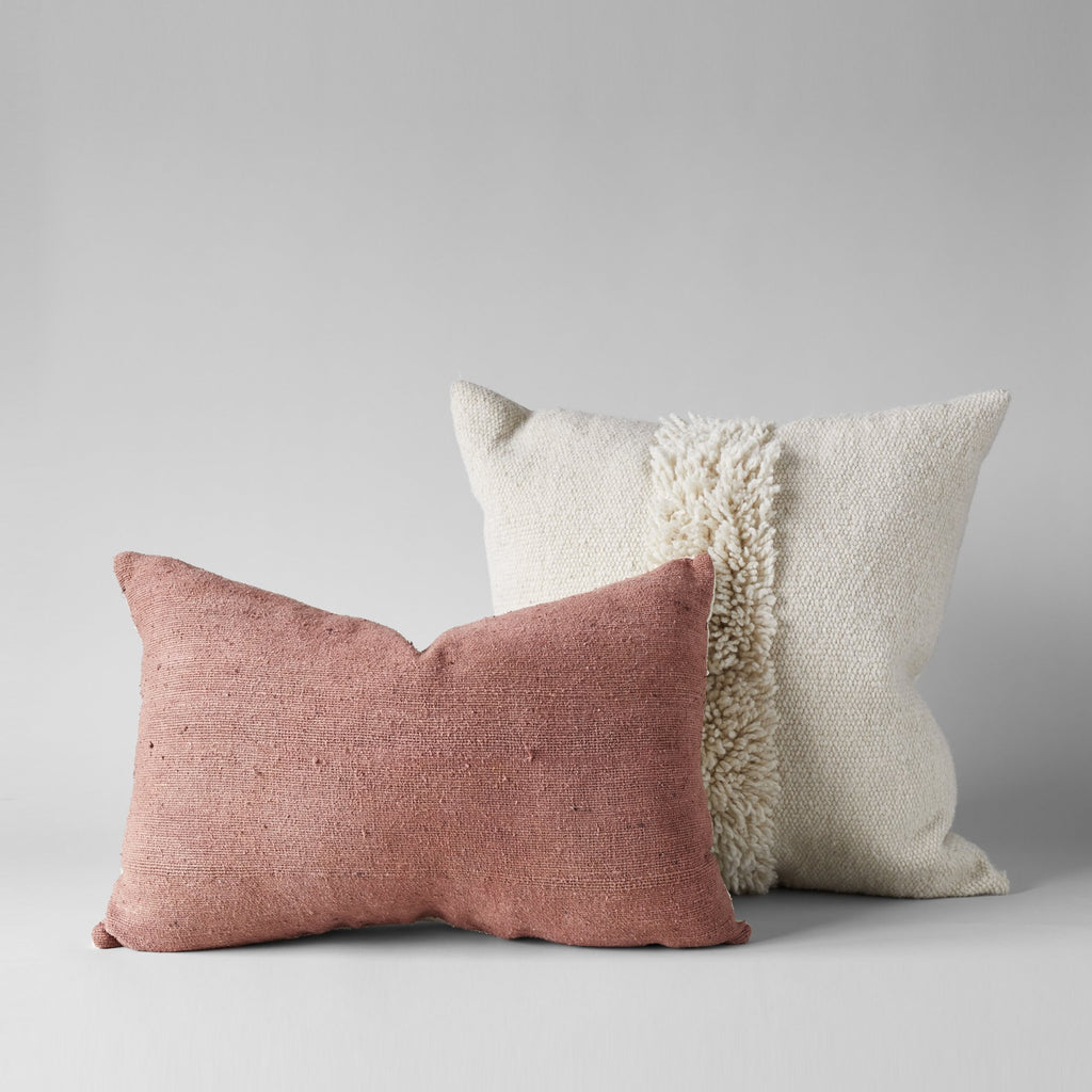 PLANT-DYED RAW SILK PILLOW IN ROSE 16x24 - Bloomist
