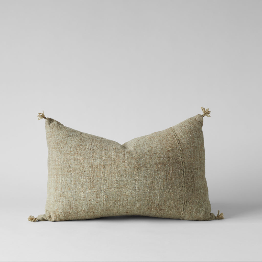 Plant-Dyed Wool Pillow In Green, 16x24 - Bloomist