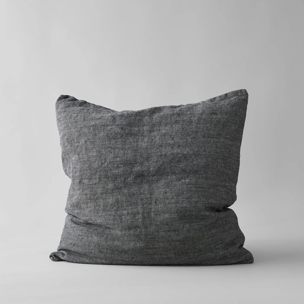 Linen Pillow in Black 26 x 26
