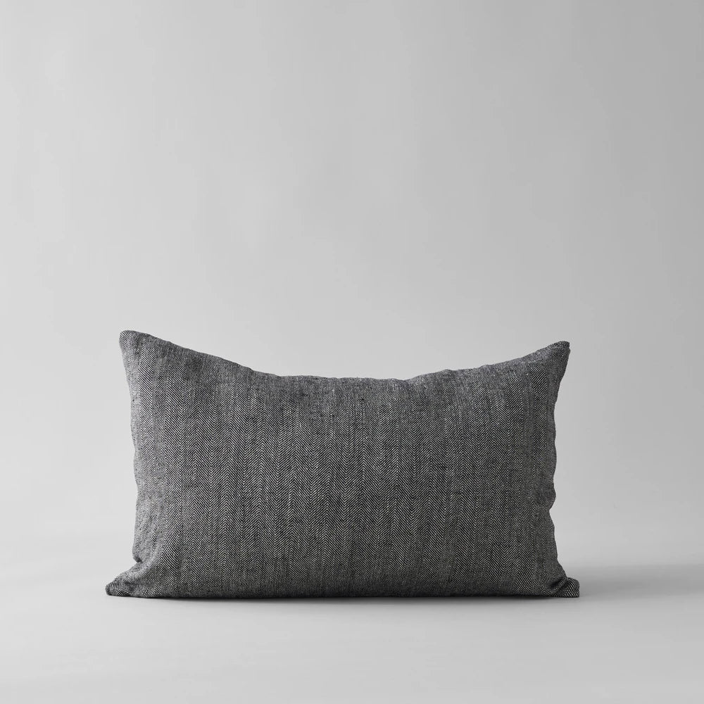 Linen Pillow in Black 16x24