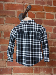 Black/White Flannel Button Up