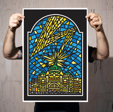 Flinders Street Strike Stained Glass Print