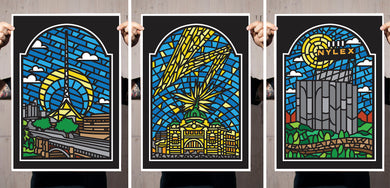 Stained Glass Melbourne - Set of 3 Prints (SHIPS FREE!)