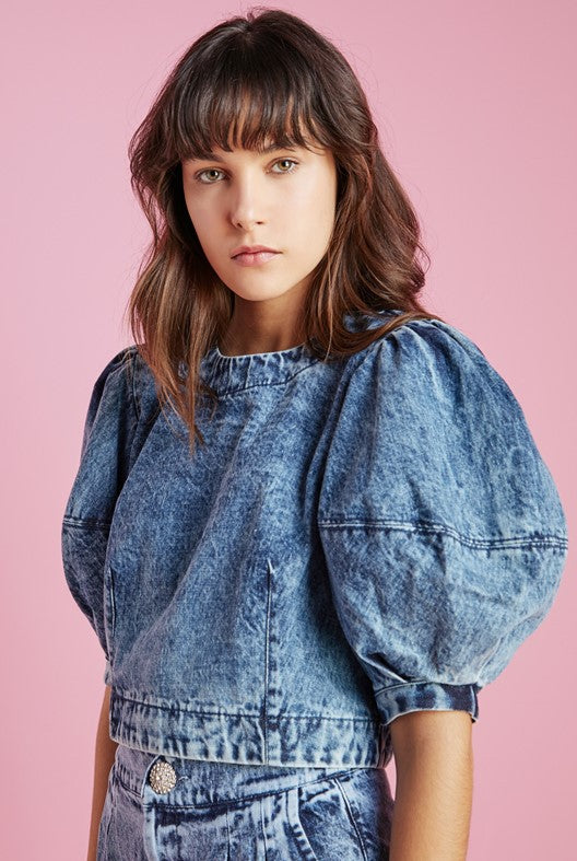Blusa Cropped Jeans Puff