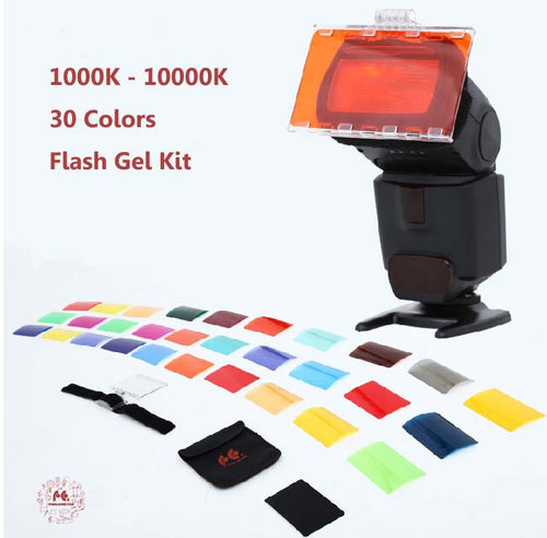 30 Colors Color Gel Kit with Barndoor & Reflector & Bag
