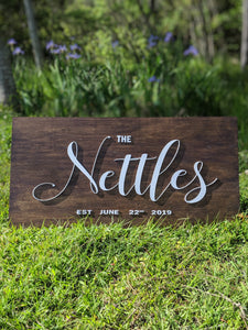 "18""x36"" Stained Wedding Sign"