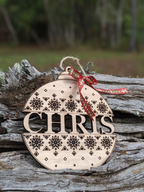 Wood Name Christmas Ornament