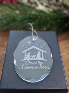 Nativity Scene Crystal Ornament